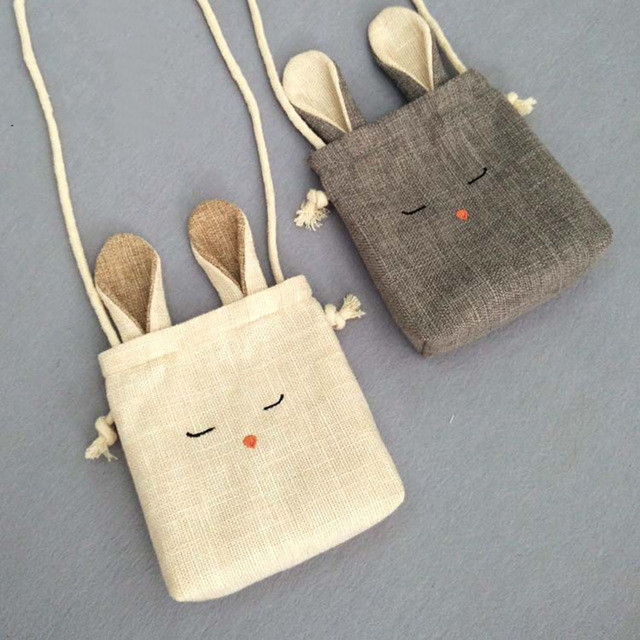 Fashion Children's Coin Purse Cloth Cartoon Cute Bunny Pouch Girls Lovely Rabbit Mini Messenger Bag Kids Gift Shoulder Mini Bags