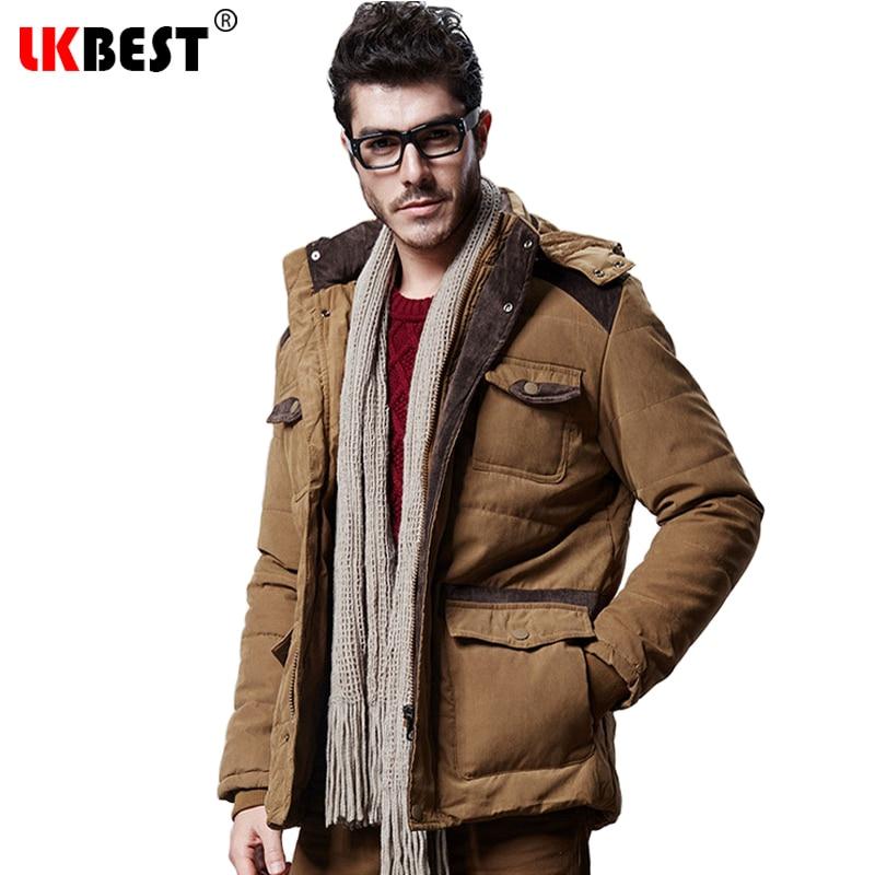 LKBEST 2017 Winter jacket men Thick men winter coat brand Hooded men parka Thick Warm Padded mail outerwear overcoat (PW607)