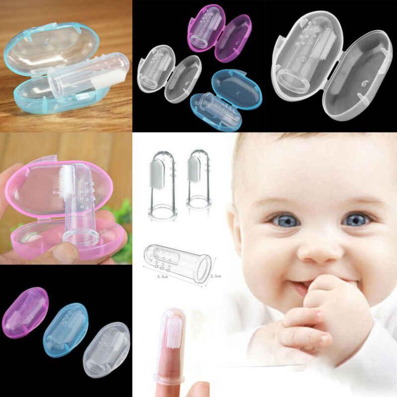 Para o Bebê Das Meninas Dos Meninos de Silicone Suave Dedo escova de Dentes Escova Massageador Gengiva