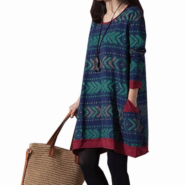 M 3XL Ethnic Style Cotton Linen Women Dresses Plus Size Vintage Dress Long  Sleeve Women's Clothing
