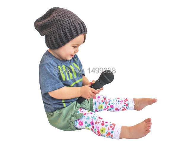 Charcoal Gray Dark Grey Black Crochet Slouch Baby Toddler o Childrens - Ropa de bebé