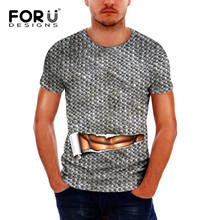 FORUDESIGNS Funny 3D T Shirts for Men,Fashion 2017 Men`s T-shirt,Muscle Design Tee Shirts,Summer Short Sleeve Mens Tshirt homme