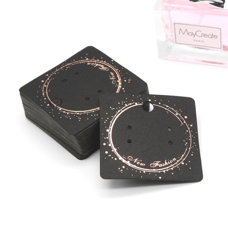 100Pcs/lot 5x5cm Black Kraft Jewelry Cards Paper Earrings Card Ear Studs Display Packaging Card Tags Can Custom Logo