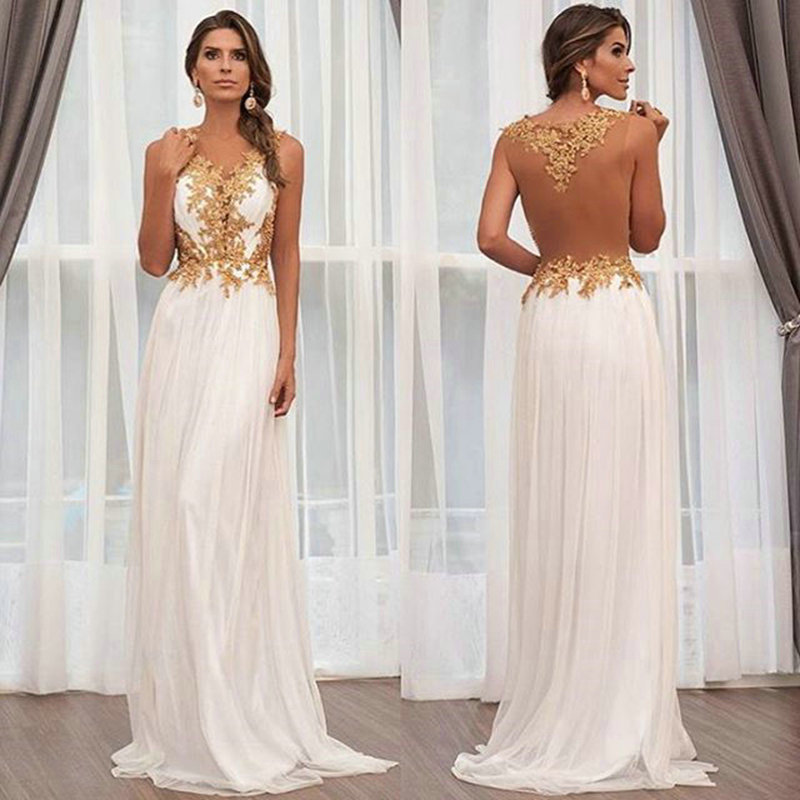 2016 White Chiffon Gold Lace Prom Dresses Sheer V Neck Appliques ...