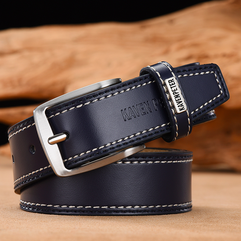 Men's Leather High Quality Classic Belt Alloy Pin Buckle Men's Matching Jeans Business Cowhide Belt Black Color Dark Brown