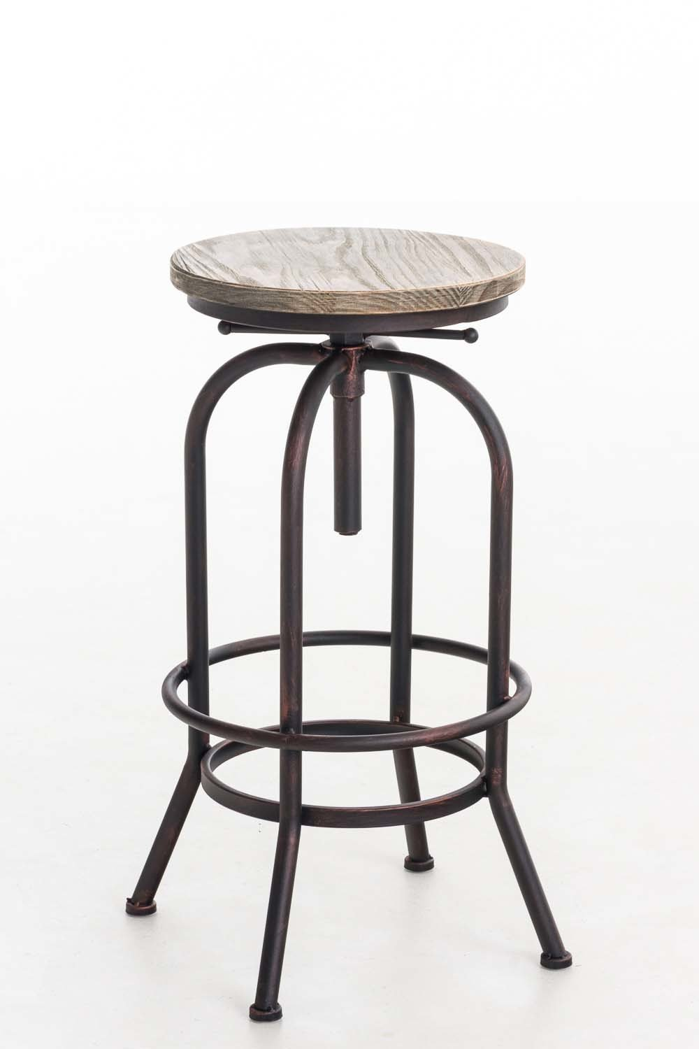 Bar stool in retro industrial look  Metal stool with solid wooden seat  Adjustable height chair  with Footrest  Bronze