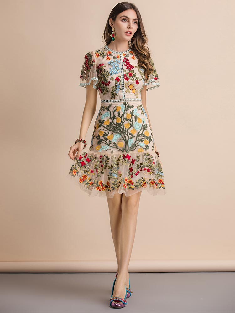Summer Dress Mesh Flare-Sleeve Floral Embroidery Linda Della Fashion Runway Elegant Women's