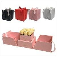 2018 Nuovo disegno del fiore quadrato scatola regalo, in grado di aprire due lati, decorazione della festa nuziale, favori regali per gusests regalo di san Valentino