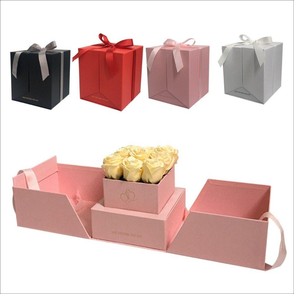 2019 nouvelle boîte-cadeau carrée de fleur de conception, peut ouvrir deux côtés, décoration de noce, cadeaux de faveurs pour le cadeau de saint-valentin de gousset