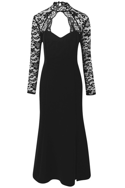 Black Sheer Lace Long Sleeve Plus Size 5XL 4XL Party Dress Ladies Fashion Cutout Accents High Neck and Open Back Elegant Dresses 2