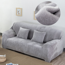 Плюшевое тканевое покрывало для дивана, бархатная ткань, толстые Чехлы, сохраняющие тепло Чехлы для дивана, защита для мебели, полиэстер, пыленепроницаемый, однотонный, серый