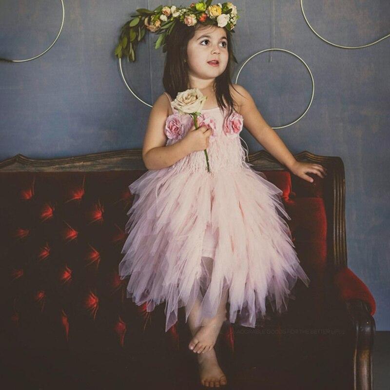 Elegant Kids Girls Dress For Wedding Party Flower Embroidery Princess Tutu Dress For Girl Evening Dresses Kids Dress Vestidos