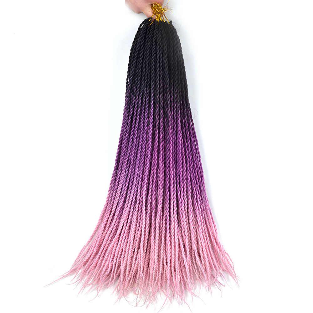 Длинные Сенегальские скрученные косички, вязанная косичка, накладные волосы Eunice, черные, коричневые, розовые волосы для женщин, Омбре, синтетические косички волос