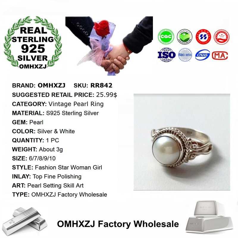 OMHXZJ ขายส่งยุโรปแฟชั่นผู้หญิงสาววันเกิดงานแต่งงานของขวัญ Vintage Pearl 925 แหวนเงิน RR842