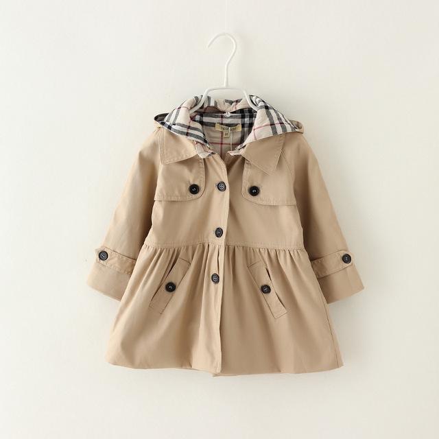 De los niños niñas niños otoño primavera viento chaquetas de la capa para las niñas tendencia de la marca de estilo princesa de las muchachas chaquetas de la capa