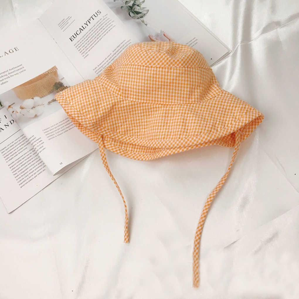 Plaid frais vérifié enfant seau chapeau bébé soleil chapeau pliable pêcheur casquette pour printemps été Picinic