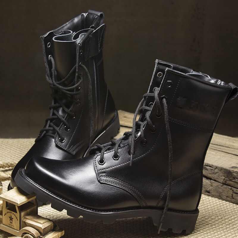 Stahl Kappe Sicherheit Schuhe Uns Military Leder Stiefel für Männer Kampf Bot Infanterie Taktische Stiefel Askeri Bot Armee Bots Erkek ayakkabi