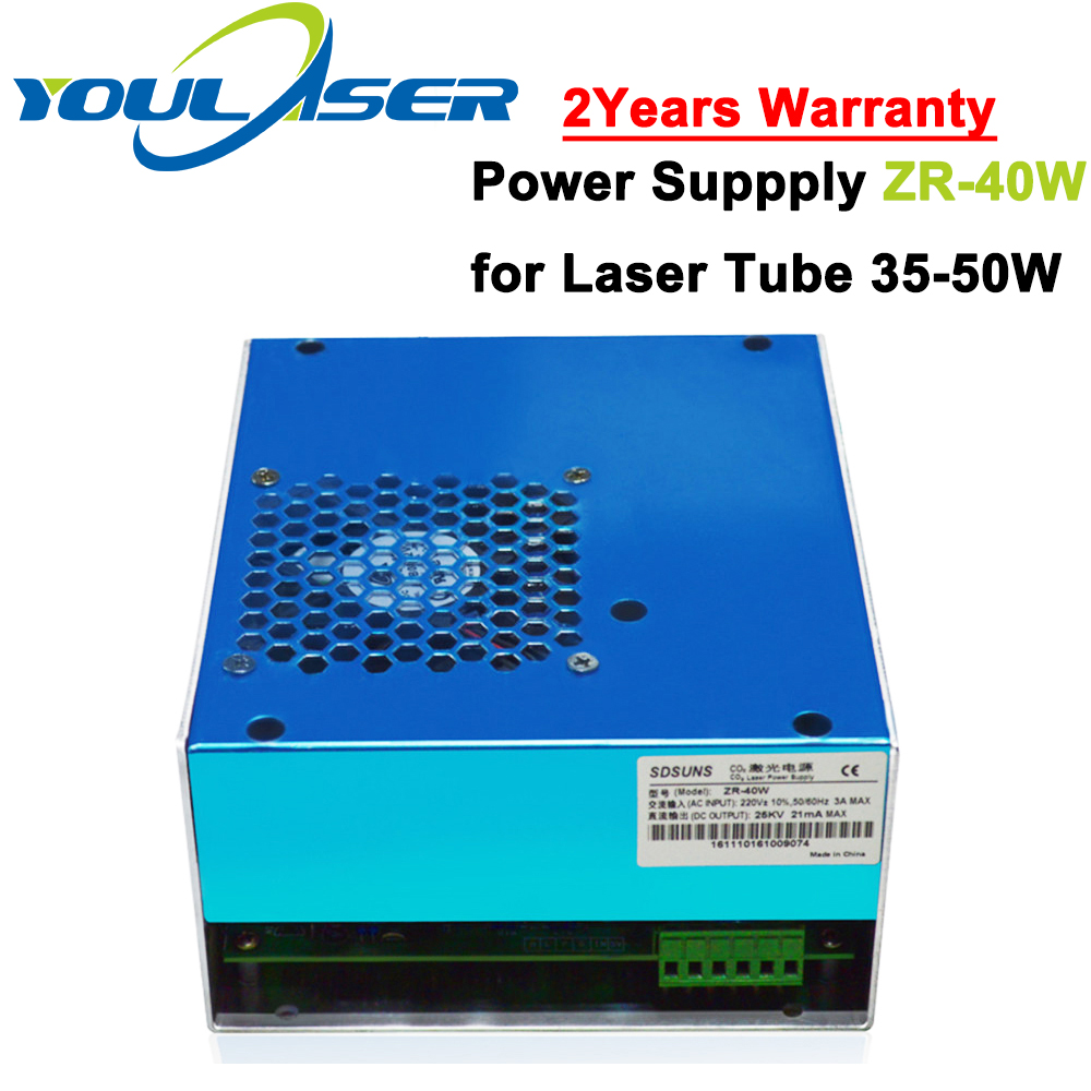 ZR-40W Co2 Laser Power Supply 40w for 30W 40W 50W Co2 Glass Laser Tube Engraving and Cutting Machine 50w co2 glass laser tube 800mm for co2 laser engraving machine