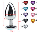 Big Plus Sizes Stainless Steel Metal Anal Dildo Sex Toys products Butt Plug Heart-shaped Anal Plug Diamonds LYR430
