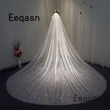 Gorgeous Bling Bling Sparkly 3.5เมตรยาวผ้าคลุมหน้า1T Chapel Veilกับหวีงานแต่งงานอุปกรณ์เสริมVelos De Novia largos