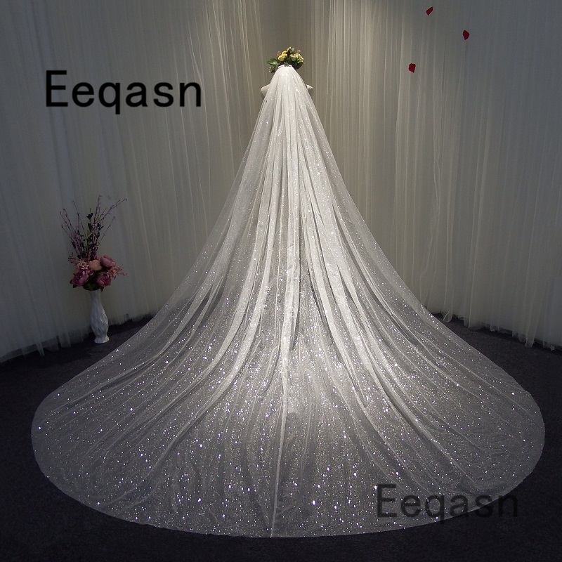 Gorgeous Bling Bling Spraying 3.5 Meters Long Wedding Veil 1T Chapel Veil With Comb Wedding Accessories Velos De Novia Largos