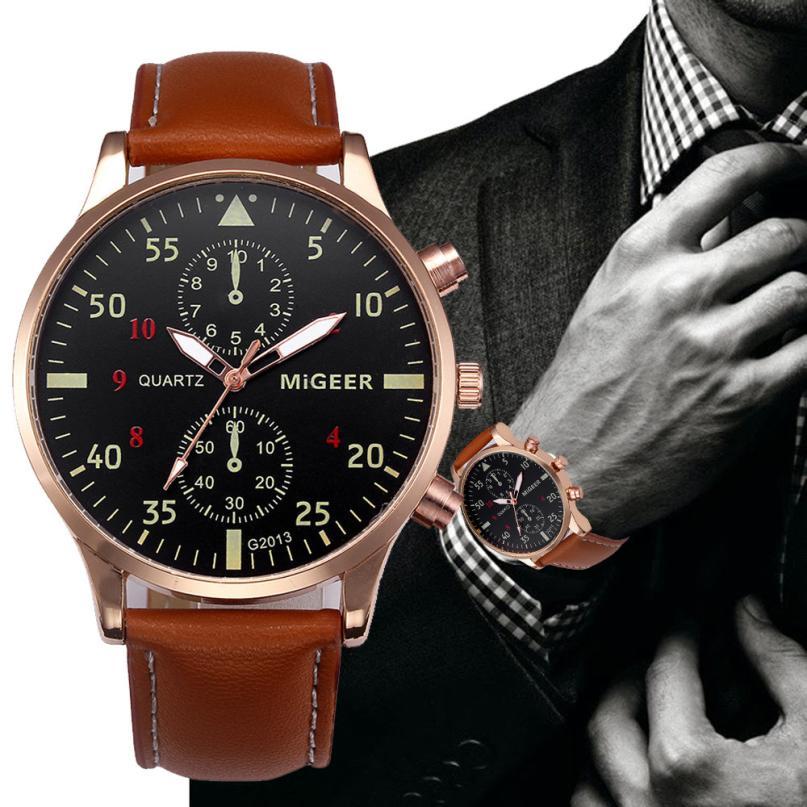 цена на Watch Mens Watches Top Brand Luxury Retro Design Military Army PU Leather Analog Quartz Clock Watch Relogio Masculino