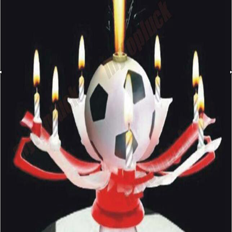 Red White Rotatable Football candle for Children Birthday christmas Candle decoration Musical Blossom Trophy gift festive party