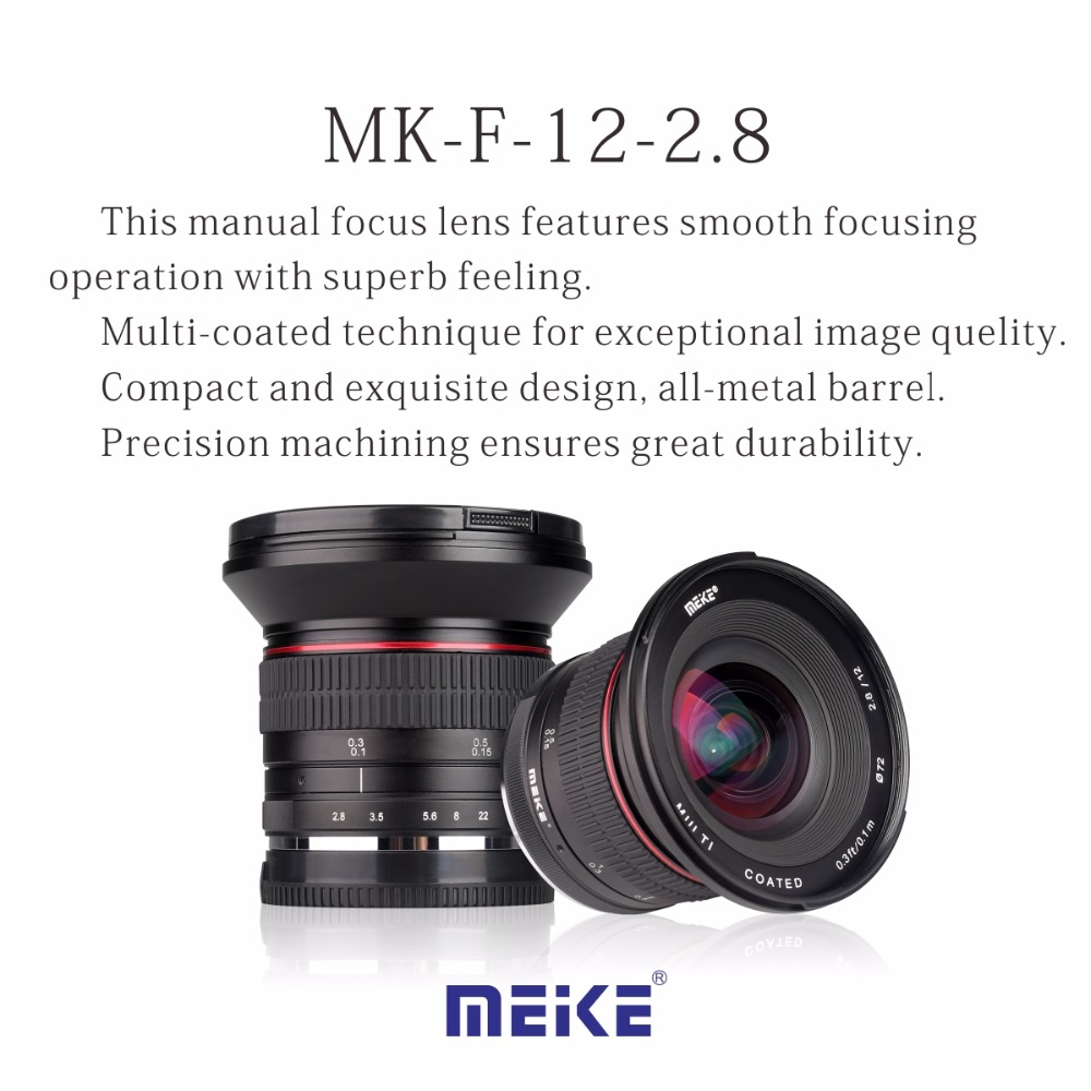 Meike 12mm f/2.8 Ultra Wide Angle Fixed Lens with Removeable Hood for Fujiflim X  mount cameras meike 12mm f 2 8 wide angle fixed lens with removeable hood for panasonic olympus mirrorless camera mft m4 3 mount with aps c