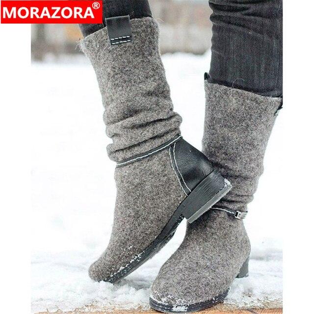 MORAZORA 2020 새로운 도착 발목 부츠 로우 힐 캐주얼 신발 가을 겨울 부츠 숙녀 큰 크기 35 47