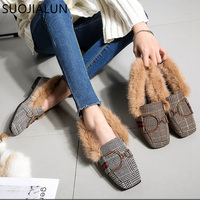 SUOJIALUN Women Shoes Flat Loafers Ladies Designer Shoes Round Toe Slip On Women Luxury Warm Plush Fur Ladies Zapatos Mujer