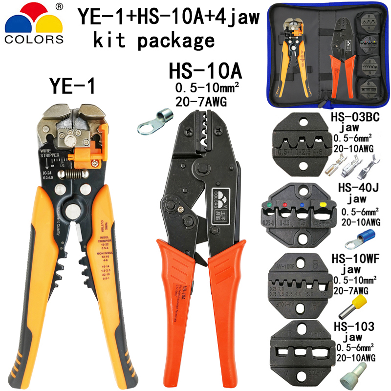 Honey Hs-10a Crimping Pliers Stripper Electrical Kit 03bc/40j/10wf/103 4 Jaw For Insulation Tube Pulg Crimping Cap Terminals Tools