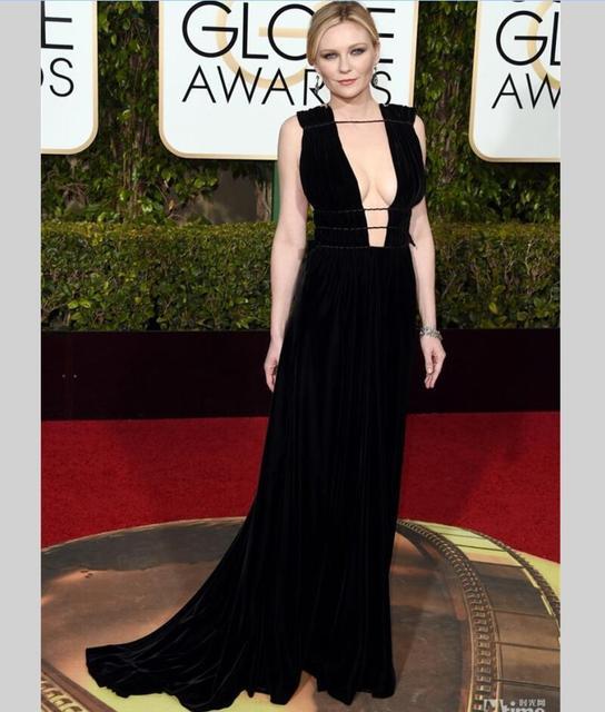 Kirsten Dunst celebridades Vestidos Globo de Ouro Preto Profundo V Pescoço Vestidos de Noite kylie jenner Vestido do tapete vermelho