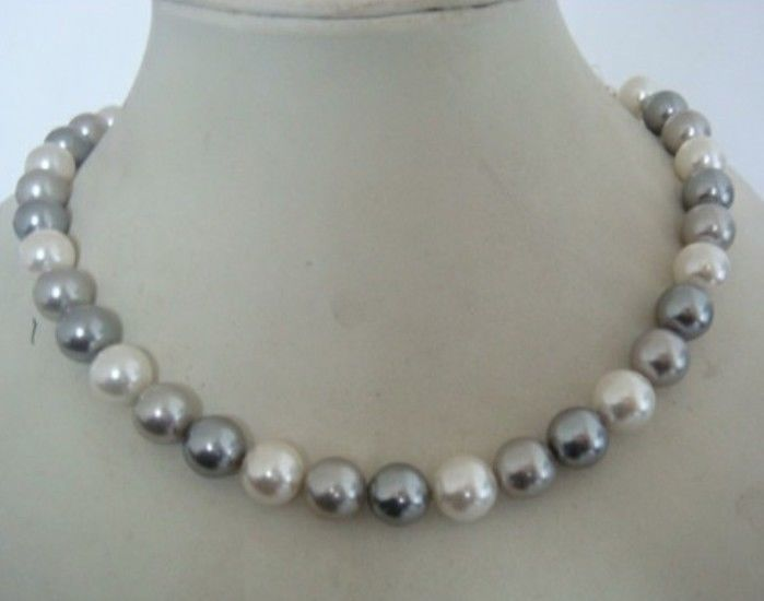 HOT## Wholesale > >>> gorgeous 11-12mm south sea black white gray pearl necklace 18inchHOT## Wholesale > >>> gorgeous 11-12mm south sea black white gray pearl necklace 18inch