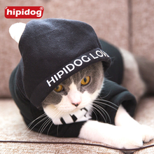 Hipidog Cat Black Letter Hoodie Colthes Warm Winter Cat Dog Clothes Velvet Cute Pet Jacket Autumn Comfortable Cat Clothing