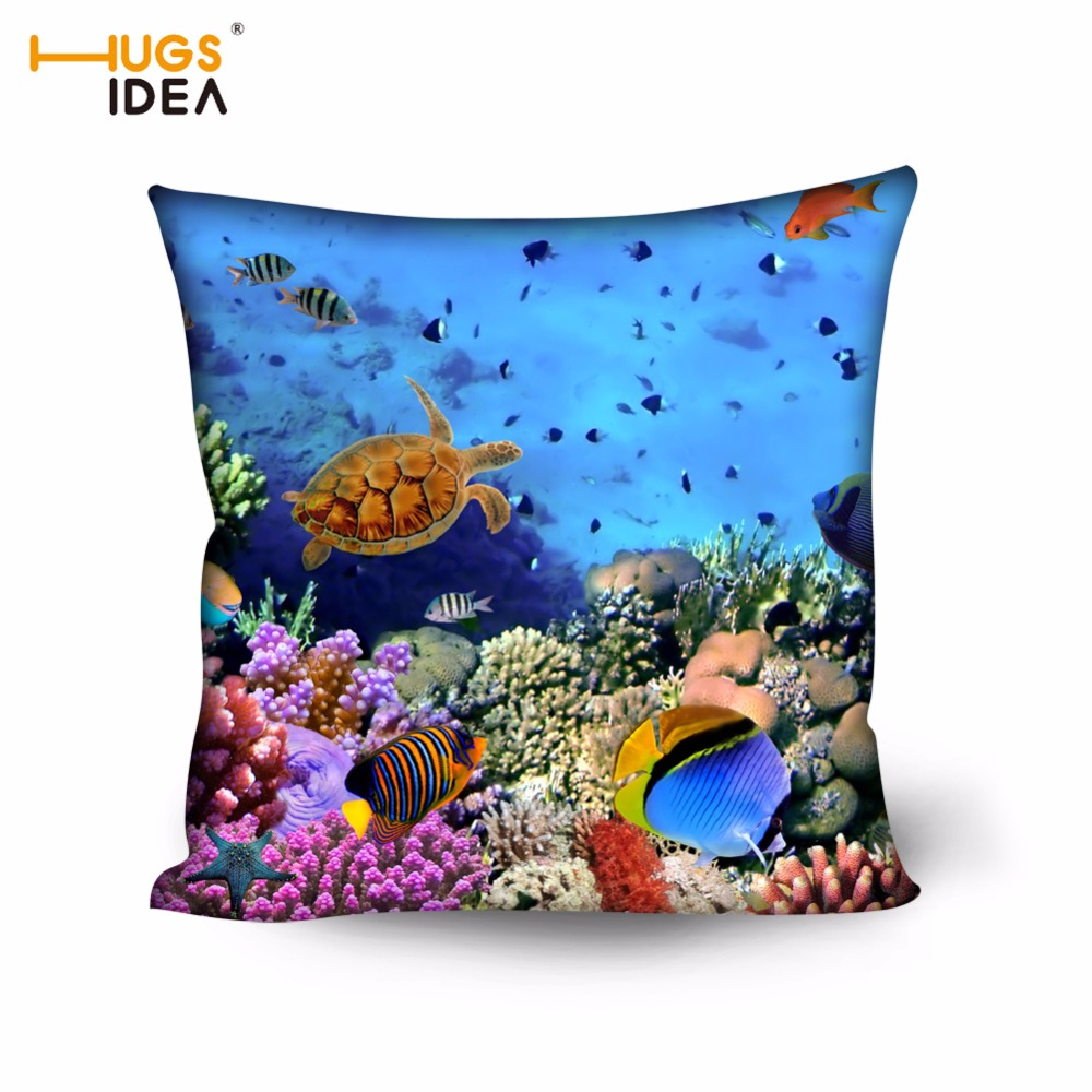 HUGSIDEA Vivid Ocean Fish Cushion Cover For Car Sofa Seat Home Decorative Home Office 3D Printing Living Room Throw Pillow Cases