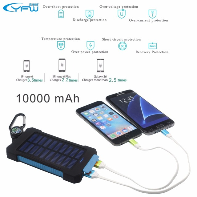YFW 2016 Waterproof Solar Power Bank 10000mAh Dual USB Portable Solar Charger Battery with LED Light&Compass for Universal phone