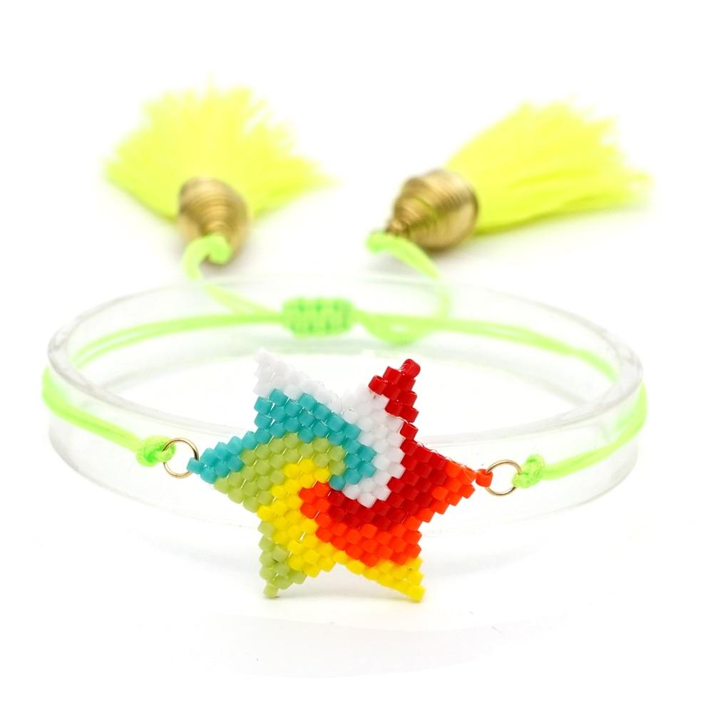 Shinus Wholesafe 10pcs/Lot Miyuki Bileklik Star Pattern Bracelet Colorful Rainbow Instagram Fashion Handmade Accessories Summer