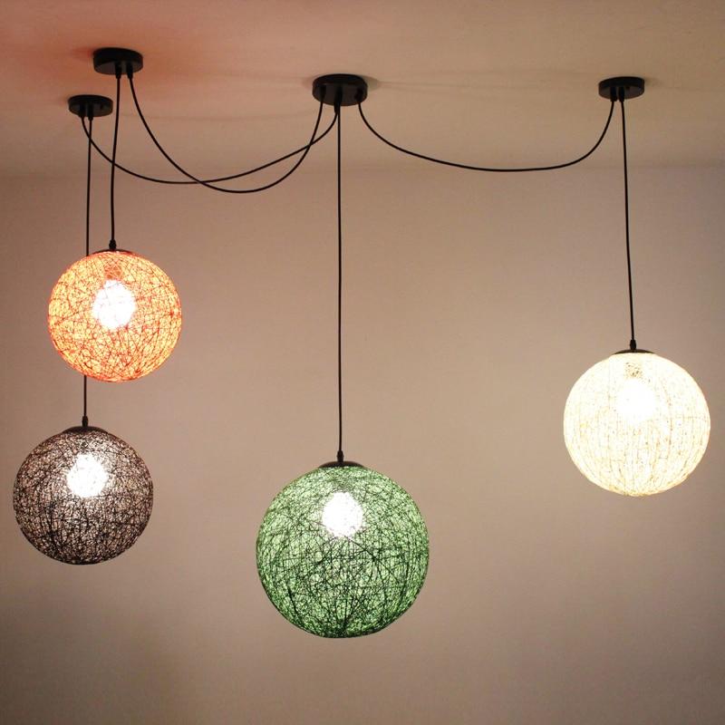 ФОТО Ma ball modern minimalist personality color rattan ball pendant lamp decorated living bedroom hallway pendant light zzp
