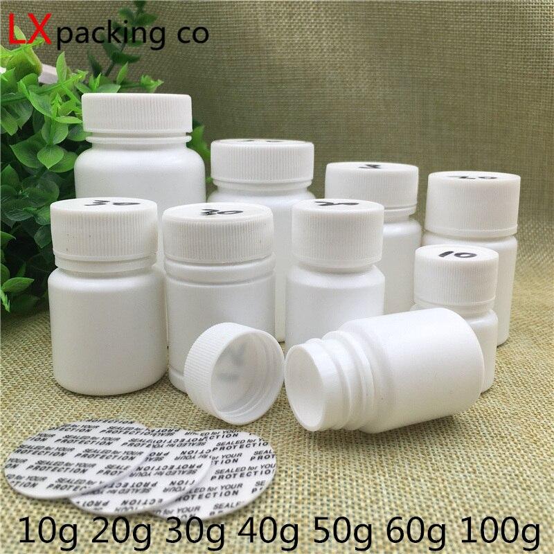 50 PCS Freies Verschiffen 10 30 60 100 ML Weiß Kunststoff Leere Pille Flaschen Glas Cremes pulver Badesalz Kosmetische container Einzelhandel