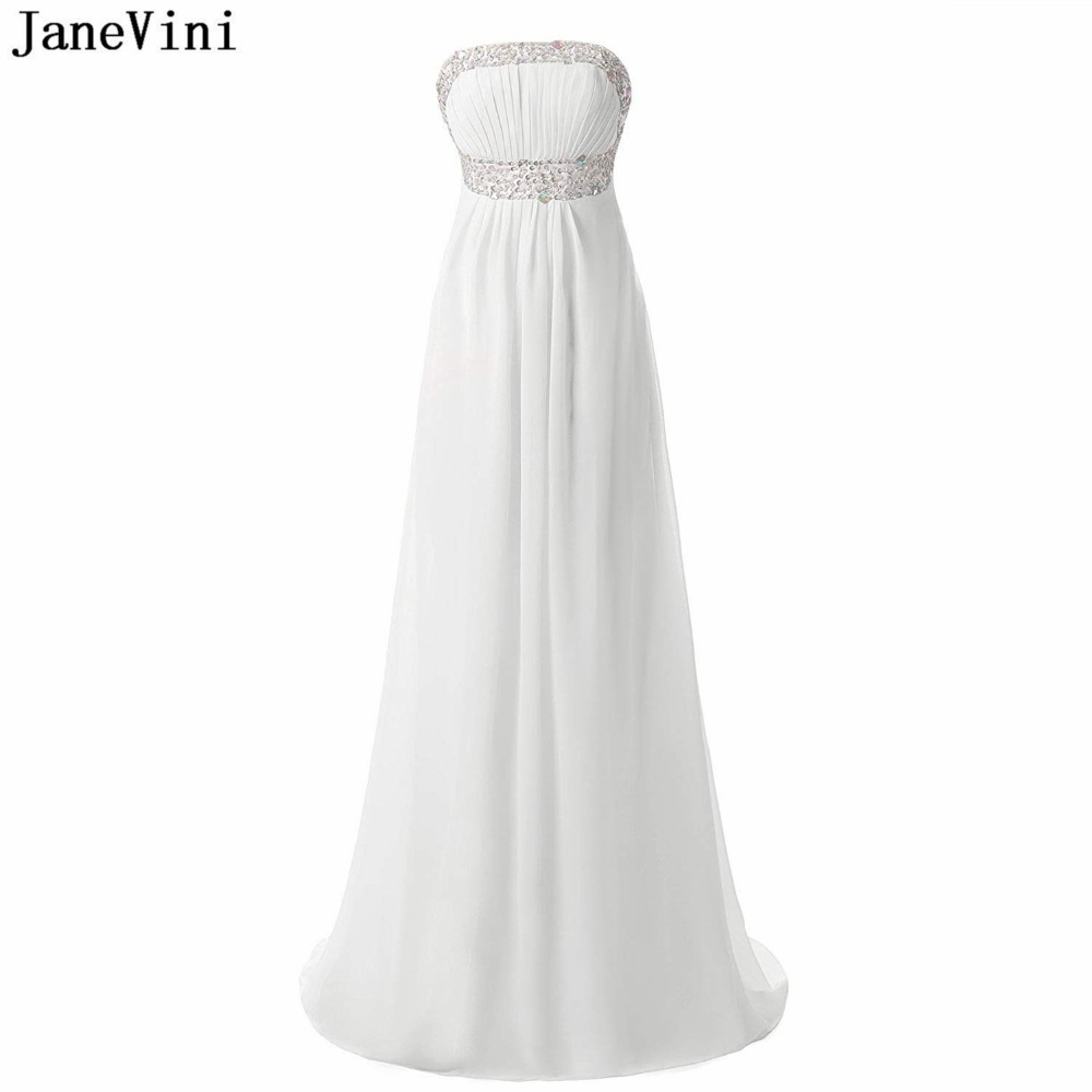 JaneVini Simple White Chiffon Long   Bridesmaid     Dresses   A Line Strapless Sequined Beaded Party Prom   Dress   Formal Gowns Sweep Train