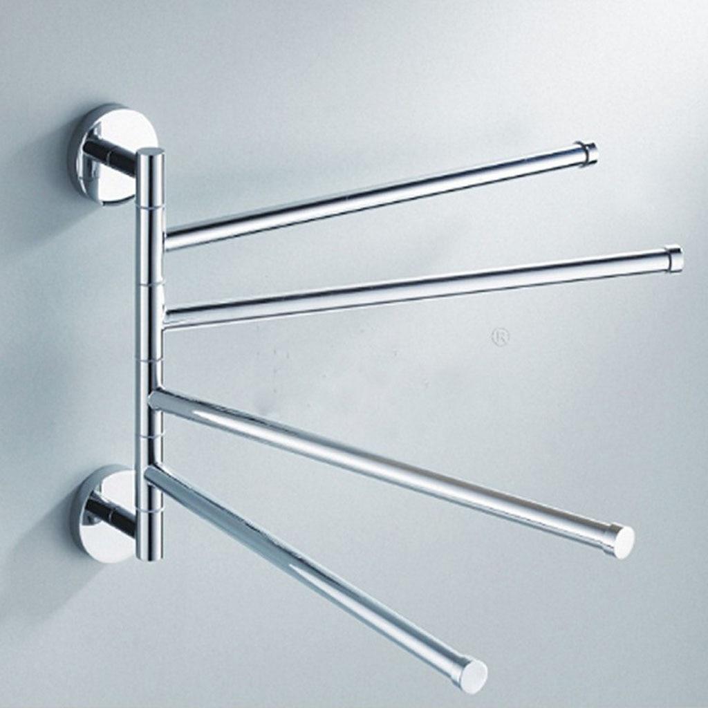 Stainless Steel Towel Holder 4 Swivel Bars Stainless Steel Bathroom ...
