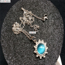 blue color stainless steel round pendant necklace for girl and boy