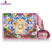 Goddess Luxury Exquisite Flowers Print Painted Women Genuine Cowhide Leather Messenger Bag Original Designer Shoulder Bag