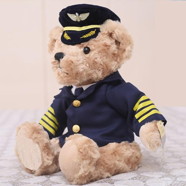 Captain Bear Pilot Uniforms Ragdoll Plush Toy Doll Kid Xmas Gift Birthday Gift Staffed Animal Toy Free Shipping A-116