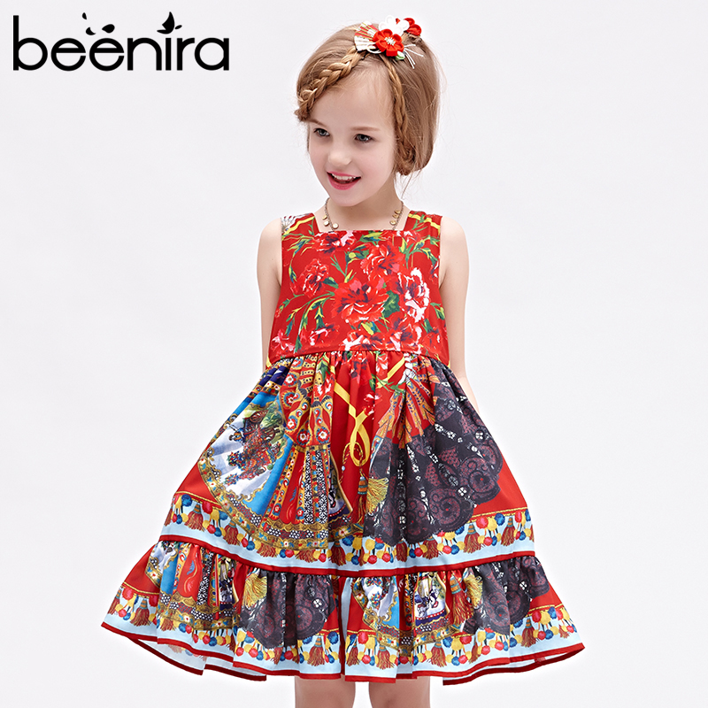 Beenira Princess Girl Party Dress European and American Style 2017 Brand Red Floral Printed Kids Dress for Girls Clothes 4-14Y 100% real photo brand kids red heart sleeve dress american and european style hollow girls clothes baby girl clothes