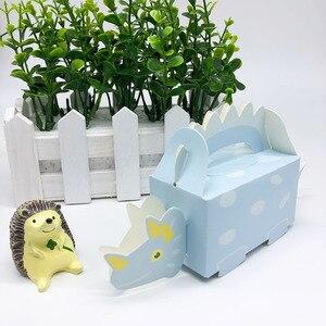 Image 2 - 10 adet dinozor parti mavi yeşil kurabiye kutusu bebek duş şeker kutusu tedavi çocuklar doğum günü kağıdı kutuları