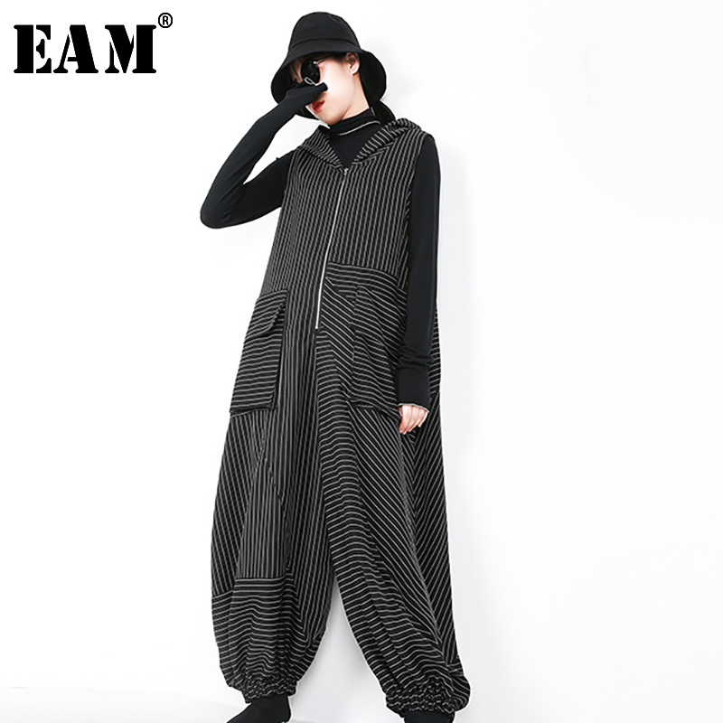 [EAM] 2019 New Spring Hooded Long Sleeve Black Loose Large Size Long Striped Sleeveless Jumpsutis Women Fashion JI493
