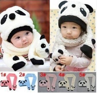 2015 Winter Baby Girls Boys Warm Hat Cute Panda style Hat Cap Beanie 1 Set = Scarf + Hat 5 Colors Accessories For Children Kids
