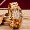 Uwood más nuevo top marca de lujo de japón movimiento de cuarzo reloj de madera madera de la cebra relojes para hombres mujeres simple reloj de pulsera analógico