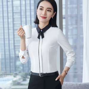 Image 3 - Spring New White Shirt Women Fashion Formal Business Patchwork Long Sleeve Slim Chiffon Blouses Office Ladies Plus Size Tops